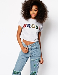 The Ragged Priest Gross Sequin Cropped T Shirt Grey