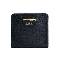 Graphic Image Mini Folding Wallet In Embossed Python Leather Black Personalized