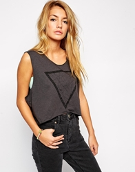 Illustrated People Sleeveless Crop Denim Top Charcoal