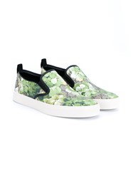 Gucci Floral Printed Leather Shoes Green Oatmeal Black White Brown