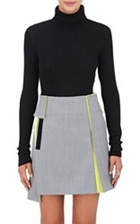 Paco Rabanne Women's Semi Sheer Wool Rib Knit Turtleneck Sweater Black