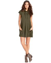 Kensie Flutter Sleeve Draped French Terry Dress Heather Olive