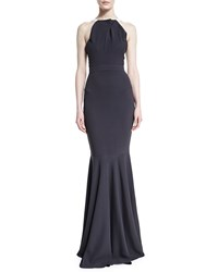 Roland Mouret Pleated Halter Neck Double Crepe Mermaid Gown Charcoal Gray Women's Size 6 Black Maroon Charcoal Grey