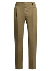 Christophe Lemaire Mid Rise Cotton And Linen Blend Twill Trousers Khaki