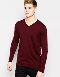 Jack And Jones Jack And Jones Premium V Neck Knitted Jumper Red