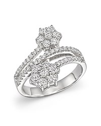Bloomingdale's Diamond Flower Bypass Ring In 14K White Gold 1.10 Ct. T.W.
