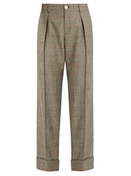 Gucci Prince Of Wales Checked Wool Trousers Brown Multi
