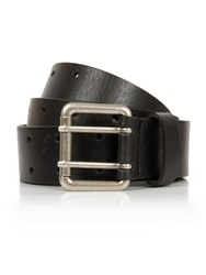 Pretty Green Black Leather Twin Prong Belt