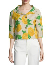 Michael Kors Collection Half Sleeve Button Front Bolero Hemp Daffodil Hemp Yellow Women's Size 10