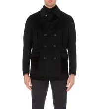 Brioni Suede Tipped Wool And Cashmere Peacoat Black