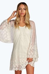 Boohoo Lace Batwing Dress Cream