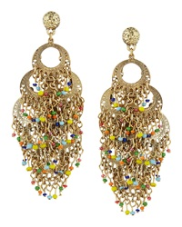 Rj Graziano R.J. Graziano Layered Beaded Hoop Chandelier Earrings
