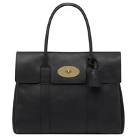Mulberry Bayswater Natural Veg Tanned Leather Grab Bag Black