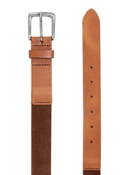 Topman Suede And Leather Belt Light Brown