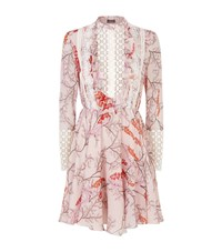 Giambattista Valli Mimosa Print Lace Trim Ruffle Dress Female Blush