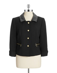 Tahari Arthur S. Levine Four Button Jacket With Faux Leather Collar Black