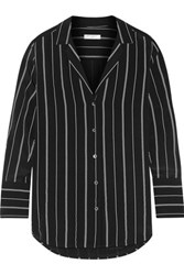 Equipment May Striped Washed Silk Shirt Black