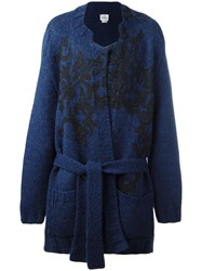 Vivienne Westwood Man Intarsia Chunky Belted Cardigan Blue