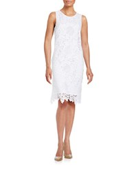 Helene Berman Crocheted Lace Sheath Dress White