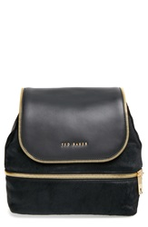 Ted Baker Genuine Calf Hair And Leather Backpack Black