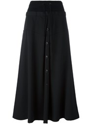 Y's Button Front Skirt Black