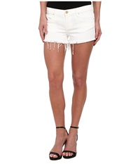Blank Nyc White Denim Short Raw Cut Off Finish In White Lines White Lines Women's Shorts