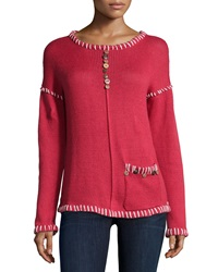 Pure Handknit Long Sleeve Embellished Pullover Red Current