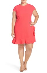 Eliza J Plus Size Women's Ruffle Hem Crepe Shift Dress