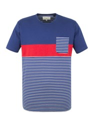 Racing Green Sanchez Stripe And Pocket T Shirt Navy