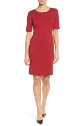 Ellen Tracy Women's Seamed Ponte Sheath Dress Red