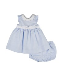 Florence Eiseman Sleeveless Ottoman Dress And Bloomers Blue White