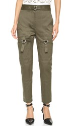 Alexander Wang High Waisted Pants With Cargo Pockets Olive