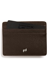 Porsche Design 'Fc 3.0' Leather Card Case Brown