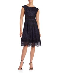 Eliza J Lace Fit And Flare Dress Navy