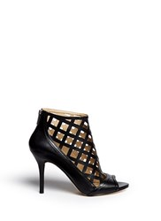 Michael Kors 'Yvonne' Cutout Leather Open Toe Caged Booties Black