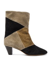 Etoile Isabel Marant Dexton Patch Velvet Booties In Green Black Green Black