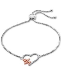 Giani Bernini Two Tone Cubic Zirconia Heartbeat Adjustable Slider Bracelet In Sterling Silver Only At Macy's