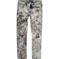 River Island Mens White Acid Wash Stud Skinny Jeans