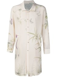 By Walid Floral Print Long Shirt White