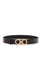 Salvatore Ferragamo Medium Giancini Belt Dark Brown Black