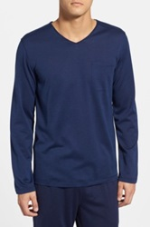 Daniel Buchler Silk And Cotton V Neck Long Sleeve T Shirt Blue