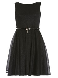 Chase 7 Organza Fit And Flare Dress Black