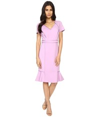 Nue By Shani V Neck Ponte Knit Dress With Side Flounce Lilac Women's Dress Purple