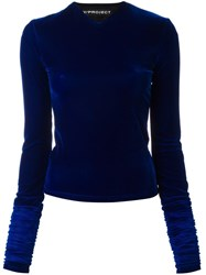 Y Project Long Sleeve Velvet Top Blue