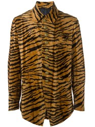 Jean Paul Gaultier Vintage Tiger Print Faux Fur Jacket Brown