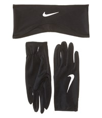 Nike Dri Fit Running Headband Glove Set Black Silver Athletic Sports Equipment