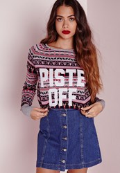Missguided Piste Off Knitted Christmas Jumper