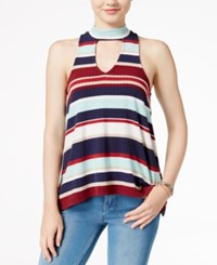 Almost Famous Juniors' Printed High Low Tank Top Aqua Berry Navy