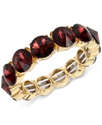 Kenneth Cole New York Gold Tone Burgundy Stone Stretch Bracelet