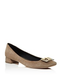 Tory Burch Gigi Low Heel Pumps Medium Gray Gold
